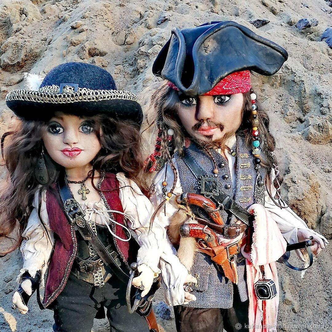 Jack Sparrow and Angelica teach, portrait, author's dolls, Portrait Doll, St. Petersburg,  Фото №1