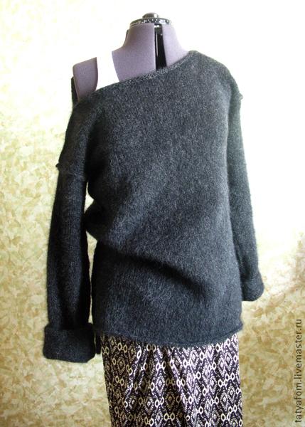 Кофты и свитера ручной работы. Ярмарка Мастеров - ручная работа. Купить Свитер. Handmade. Темно-серый, швы наружу, вязание