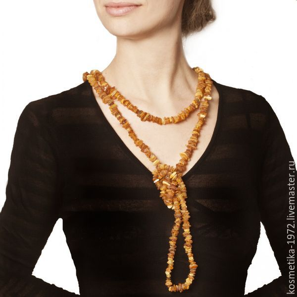 Amber beads long untreated natural stone healing, Beads2, Kaliningrad,  Фото №1