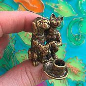 Для дома и интерьера handmade. Livemaster - original item Brass cat and dog candle holder. Handmade.