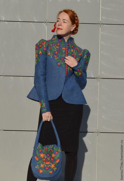 """Одежда ручной работы. Ярмарка Мастеров - ручная работа. Купить Кафтанчик """"Расписной"""". Handmade. Синий, кафтан, куртка женская"""