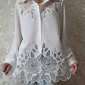"Одежда ручной работы. Ярмарка Мастеров - ручная работа белая блузка ""Хрусталь"". Handmade."