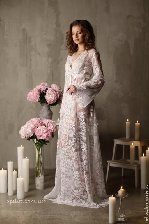 Long Lace Bridal Robe F3, Bridal Lingerie, Wedding Lingerie ...