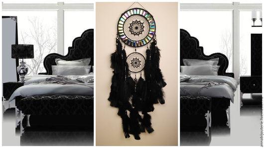 Ловцы снов ручной работы. Ярмарка Мастеров - ручная работа. Купить Dreamcatcher Black mosaic Dream Catcher Large Dreamcatcher New Dream. Handmade.