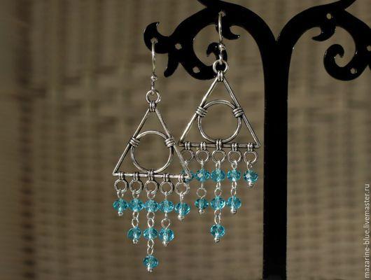 """Серьги ручной работы. Ярмарка Мастеров - ручная работа. Купить """"Голубой водопад"""" серьги из чешского стекла. Handmade. Голубой, серьги"""