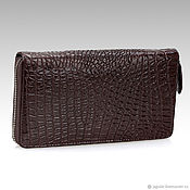 Сумки и аксессуары handmade. Livemaster - original item Purse-clutch zipper crocodile leather brown. Handmade.