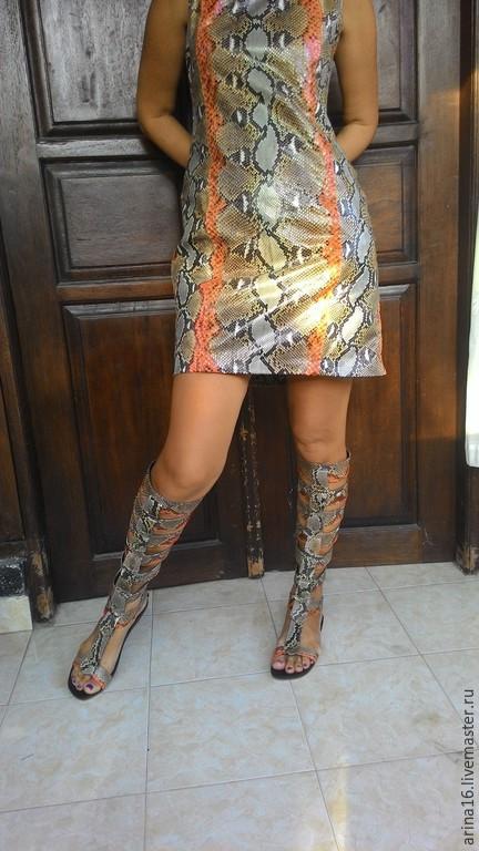 Обувь ручной работы. Ярмарка Мастеров - ручная работа. Купить Сандалии- гладиаторы. Handmade. Разноцветный, сандалии из кожи, обувь из питона