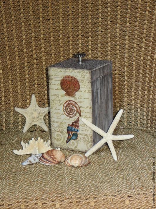 """Корзины, коробы ручной работы. Ярмарка Мастеров - ручная работа. Купить Короб """"Морские раковины"""". Handmade. Короб для хранения, декупаж"""