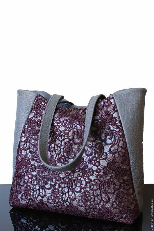 Женские сумки ручной работы. Ярмарка Мастеров - ручная работа. Купить Кожаная сумка с кружевом, вишневый, серая сумка, сумка из кожи. Handmade.