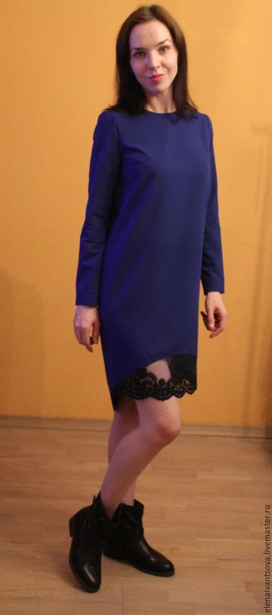 Платья ручной работы. Ярмарка Мастеров - ручная работа. Купить Платье с кружевом по подолу.. Handmade. Тёмно-синий, платье вечернее