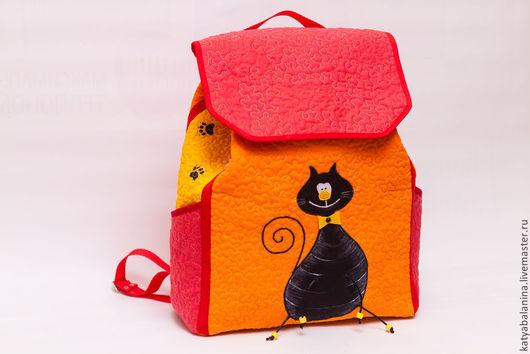 """Рюкзаки ручной работы. Ярмарка Мастеров - ручная работа. Купить Рюкзак """"Черный кот"""". Handmade. Рюкзак, рюкзак для девушки, хлопок"""