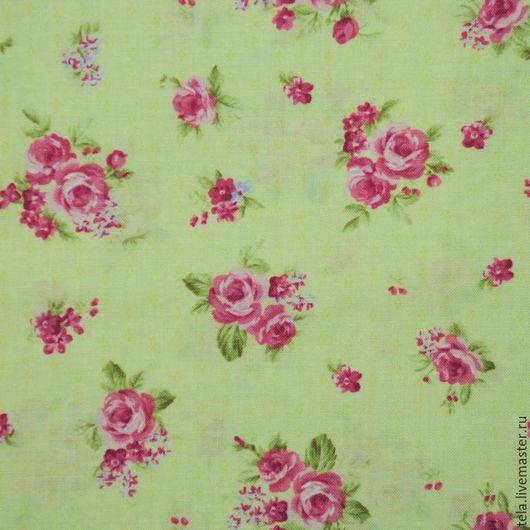 Розовые розы на светло-желтом фоне. Хлопок 100%. Ткань для шитья, рукоделия.  Есть в наличии.