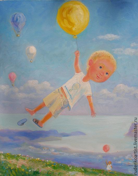 Люди, ручной работы. Ярмарка Мастеров - ручная работа. Купить воздухоплаватель. Handmade. Мальчик, воздушные шарики, море, полет, лето