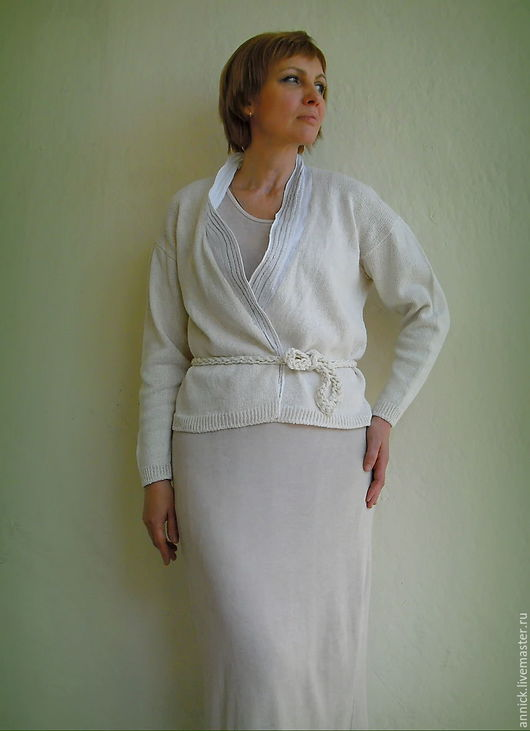 Кофты и свитера ручной работы. Ярмарка Мастеров - ручная работа. Купить вязаный белый льняной кардиган. Handmade. Белый
