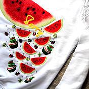 """Одежда ручной работы. Ярмарка Мастеров - ручная работа Летний свитшот """"Арбузы"""". Handmade."""