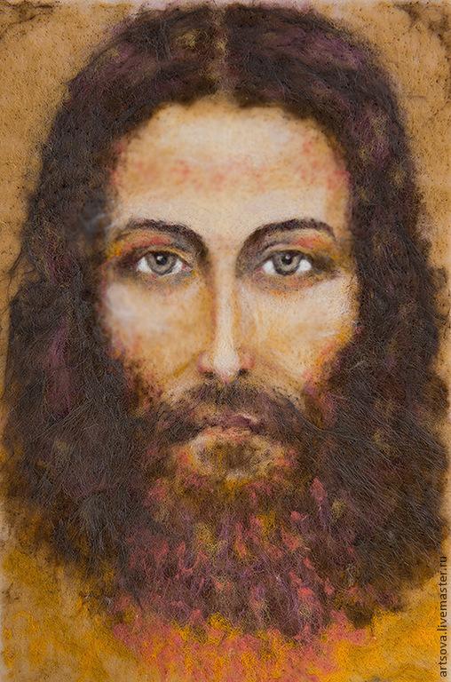 Иконы ручной работы. Ярмарка Мастеров - ручная работа. Купить Образ Иисуса. Handmade. Бежевый, картина в подарок, картина из шерсти