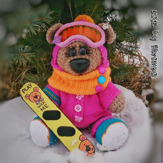 """Мишки Тедди ручной работы. Ярмарка Мастеров - ручная работа. Купить Мишка """"Сноубордистка"""". Handmade. Розовый, teddybear, для детей, вязание"""