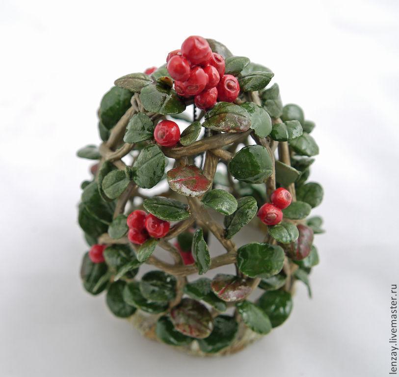 Bell in the form of a Bush of ripe cranberries. Ceramics. Braided ceramic and flowers in ceramics Elena Zaichenko