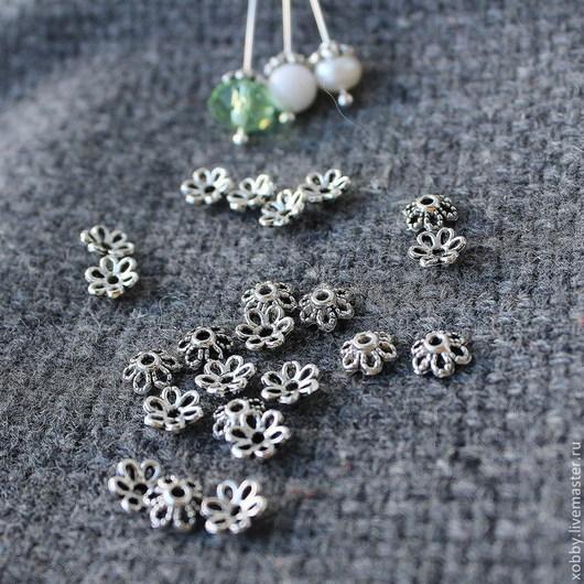 Шапочки для бусин в виде цветочка с шестью лепестками  в тибетском стиле Цвет античное серебро