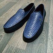 Обувь ручной работы handmade. Livemaster - original item Moccasins made of genuine Python leather and genuine calfskin!. Handmade.