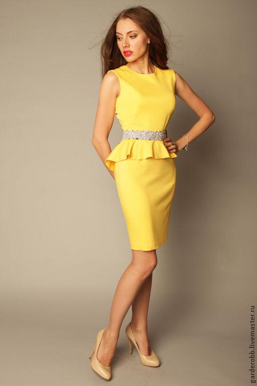 Платья ручной работы. Ярмарка Мастеров - ручная работа. Купить Коктейльное платье с баской. Handmade. Желтый, Коктейльное платье