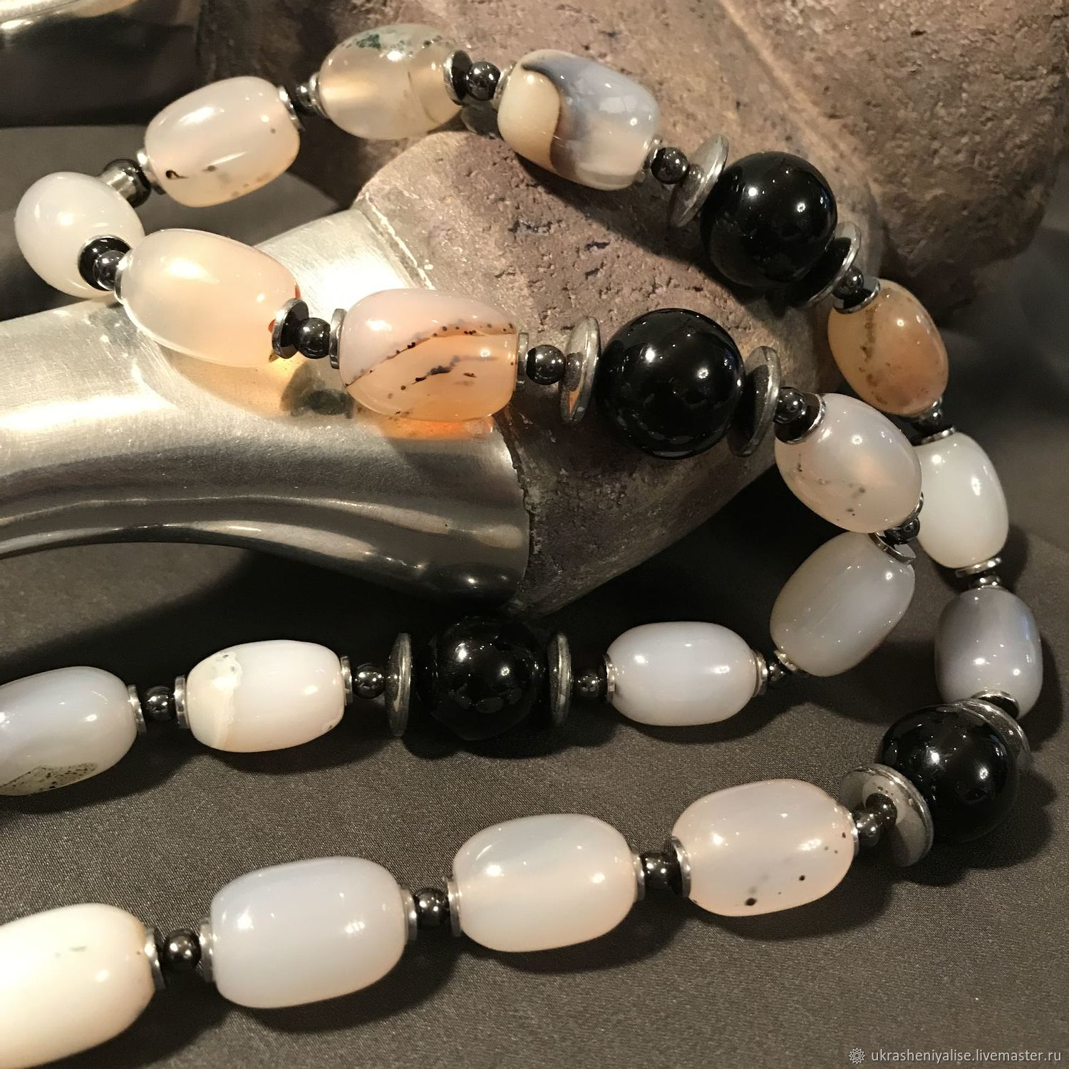 'The message of the druids' the necklace of dendritic agate, Beads2, Moscow,  Фото №1