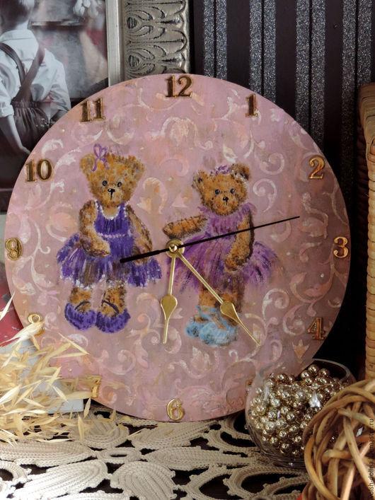 Часы для дома ручной работы. Ярмарка Мастеров - ручная работа. Купить Часики Балерина, настенные(декупаж). Handmade. Розовый, розовые часы