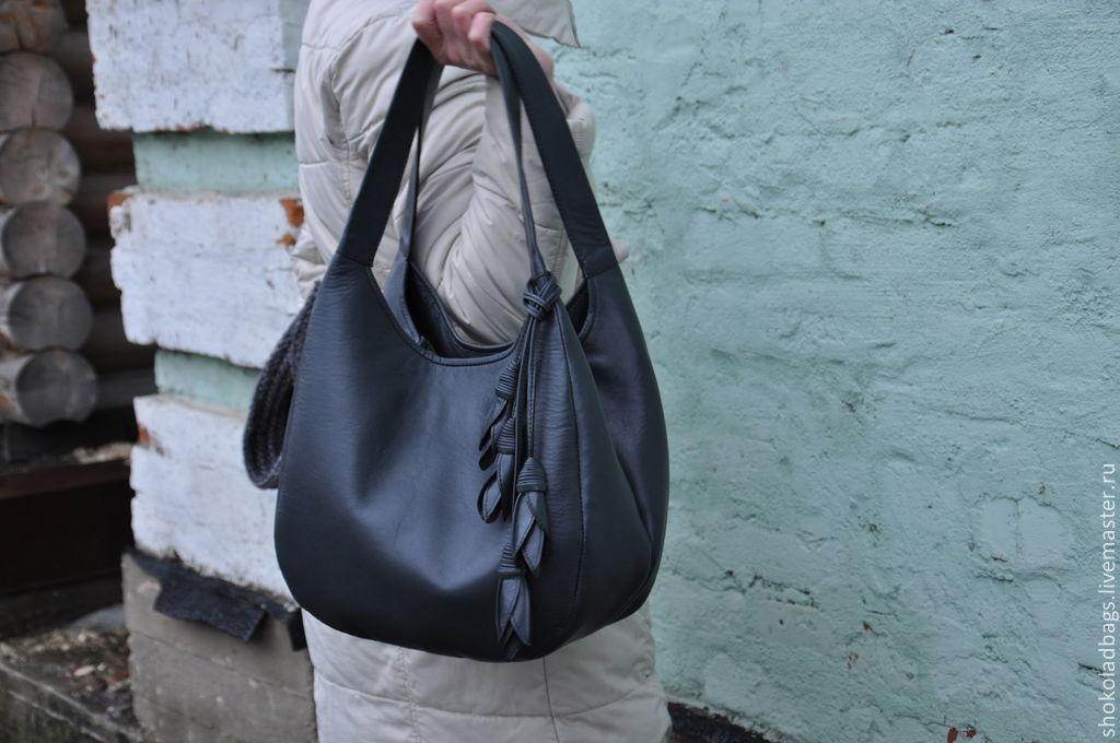 Кожаная женская сумка Валенсия черная купить в Киеве