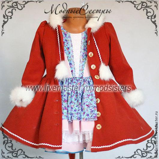 Одежда для девочек, ручной работы. Ярмарка Мастеров - ручная работа. Купить Пальто детское Арт.136. Handmade. Ярко-красный