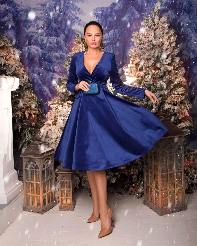 Синее бархатное платье BLIND 00595, Платья, Харьков,  Фото №1