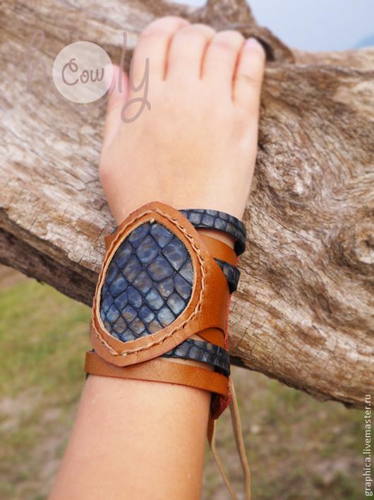 """Браслеты ручной работы. Ярмарка Мастеров - ручная работа. Купить Оригинальный кожаный браслет """"Blue Diamond"""". Handmade. Браслет"""