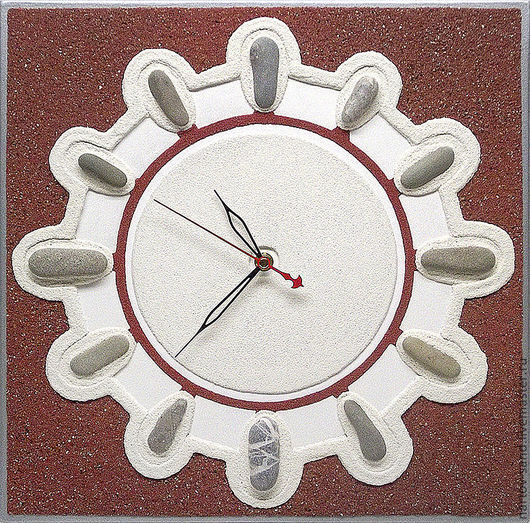 """Часы для дома ручной работы. Ярмарка Мастеров - ручная работа. Купить """"ДВЕННАДЦАТЬ""""из песка часы авторские. Handmade. Коричневый"""