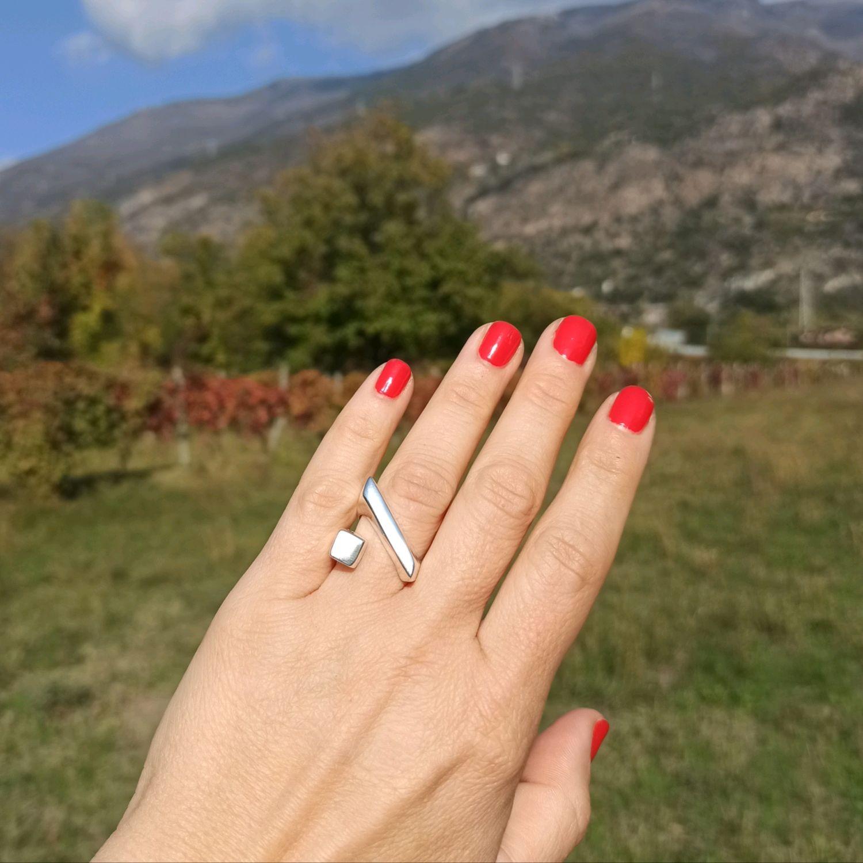 ring geometric. Stylish ring. Fashionable ring. Silver, Rings, Turin,  Фото №1