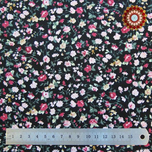 Ткань хлопок `Розовый вьюнок черный`. Код товара: ZT-00020