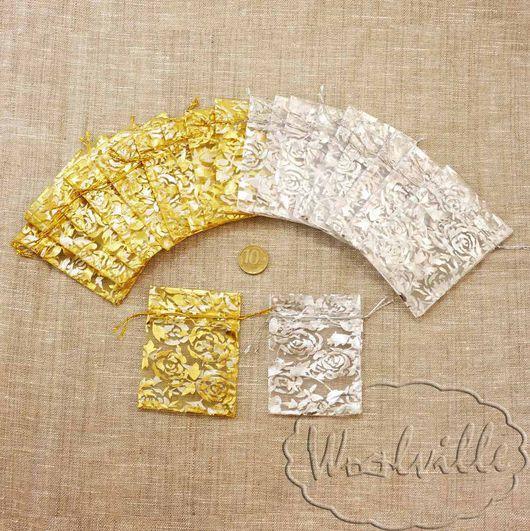 Упаковка ручной работы. Ярмарка Мастеров - ручная работа. Купить Мешочки из органзы 7 х 9 см с тиснением. Handmade.