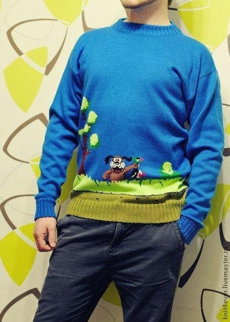 Кофты и свитера ручной работы. Ярмарка Мастеров - ручная работа. Купить свитер Утиная Охота. Handmade. Синий, свитер, на заказ
