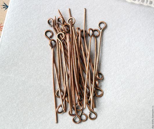 Для украшений ручной работы. Ярмарка Мастеров - ручная работа. Купить Пины с петелькой, медь 32 х 0,8 мм. Handmade.