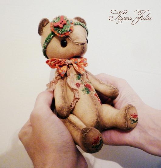 Ароматизированные куклы ручной работы. Ярмарка Мастеров - ручная работа. Купить Мишка с вышивкой Роуз крейзи винтаж. Handmade. Зеленый