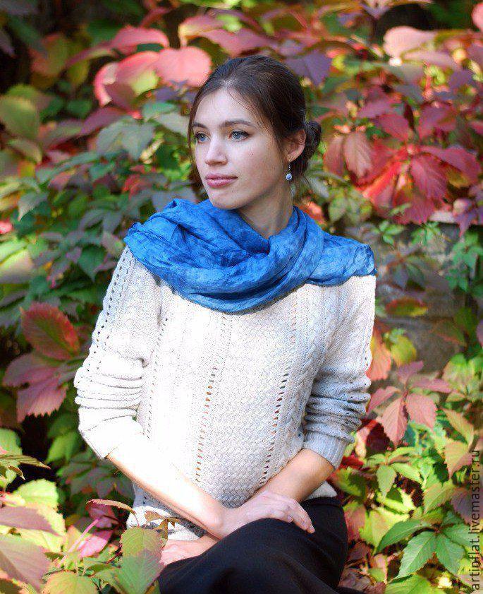 Silk scarf 'the Calm sea' Indigo Shibori silk, Scarves, Moscow,  Фото №1