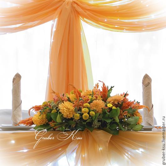 Свадебные цветы ручной работы. Ярмарка Мастеров - ручная работа. Купить Оформление свадьбы цветами. Handmade. Оранжевый, осенняя свадьба