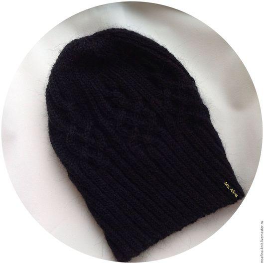 Для мужчин, ручной работы. Ярмарка Мастеров - ручная работа. Купить Вязаная шапка. Handmade. Черный, вязаная шапка