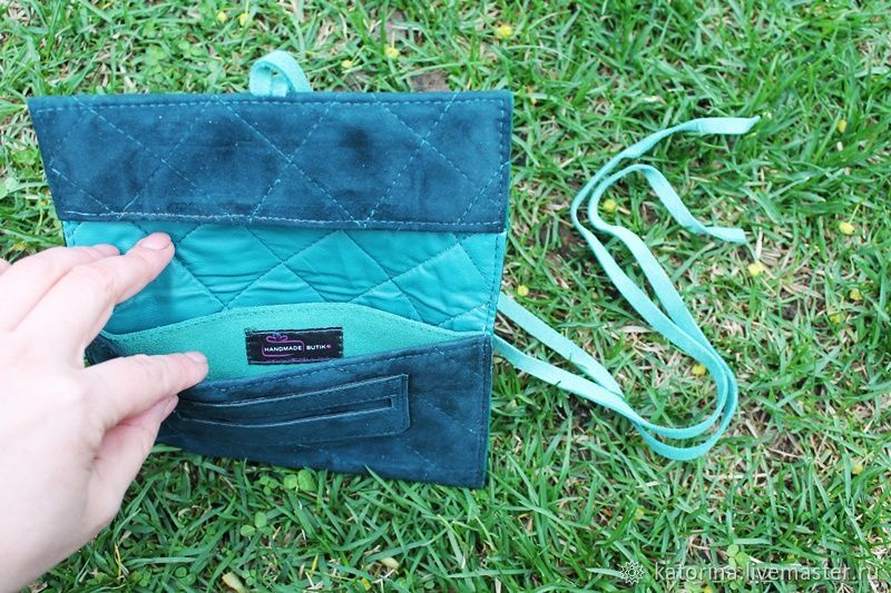 Tobacco pouch made of suede quilted lace-up Emerald, Wallets, Moscow,  Фото №1