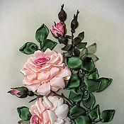 Картины и панно ручной работы. Ярмарка Мастеров - ручная работа Розы Картина  панно вышивка лентами. Handmade.