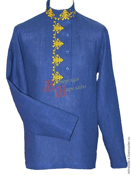 Одежда ручной работы. Ярмарка Мастеров - ручная работа. Купить Косоворотка повседневная с вышивкой (ПВГ1). Handmade. Тёмно-синий, косоворотка
