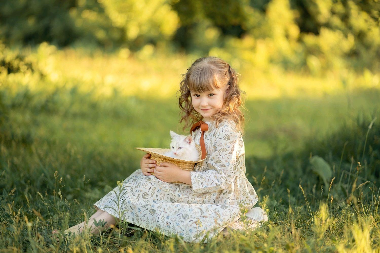 Одежда для девочек, ручной работы. Ярмарка Мастеров - ручная работа. Купить Платье из 100% льна на девочку р.116-122см. Handmade.