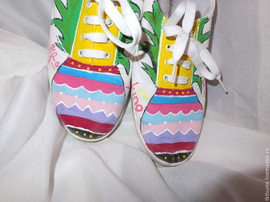 """Обувь ручной работы. Ярмарка Мастеров - ручная работа. Купить Кеды текстильные низкие с росписью """"Ананас"""". Handmade. Кеды"""