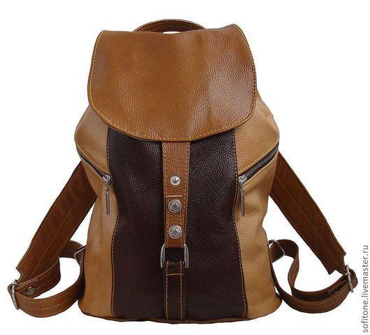 Рюкзаки ручной работы. Ярмарка Мастеров - ручная работа. Купить Рюкзак маленький женский трехцветный Бежевый-песочный-коричневый. Handmade.