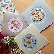 Подарки к праздникам ручной работы. Ярмарка Мастеров - ручная работа Открытка с вышивкой. Handmade.