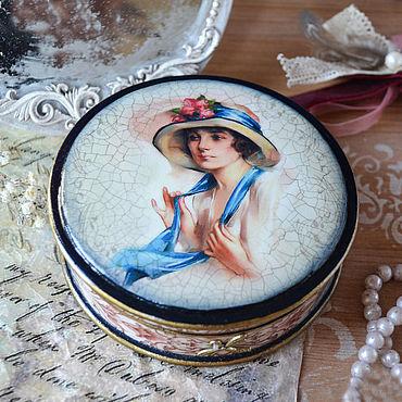 Souvenirs and gifts handmade. Livemaster - original item Casket decoupage 10cm x h10cm x h3cm dark blue Stranger. Handmade.
