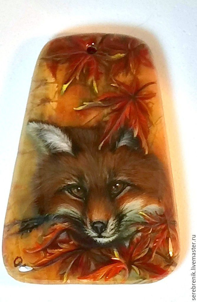 Pendant / pendant with copyright miniature lacquer painted Fox Lars, Pendants, Moscow,  Фото №1